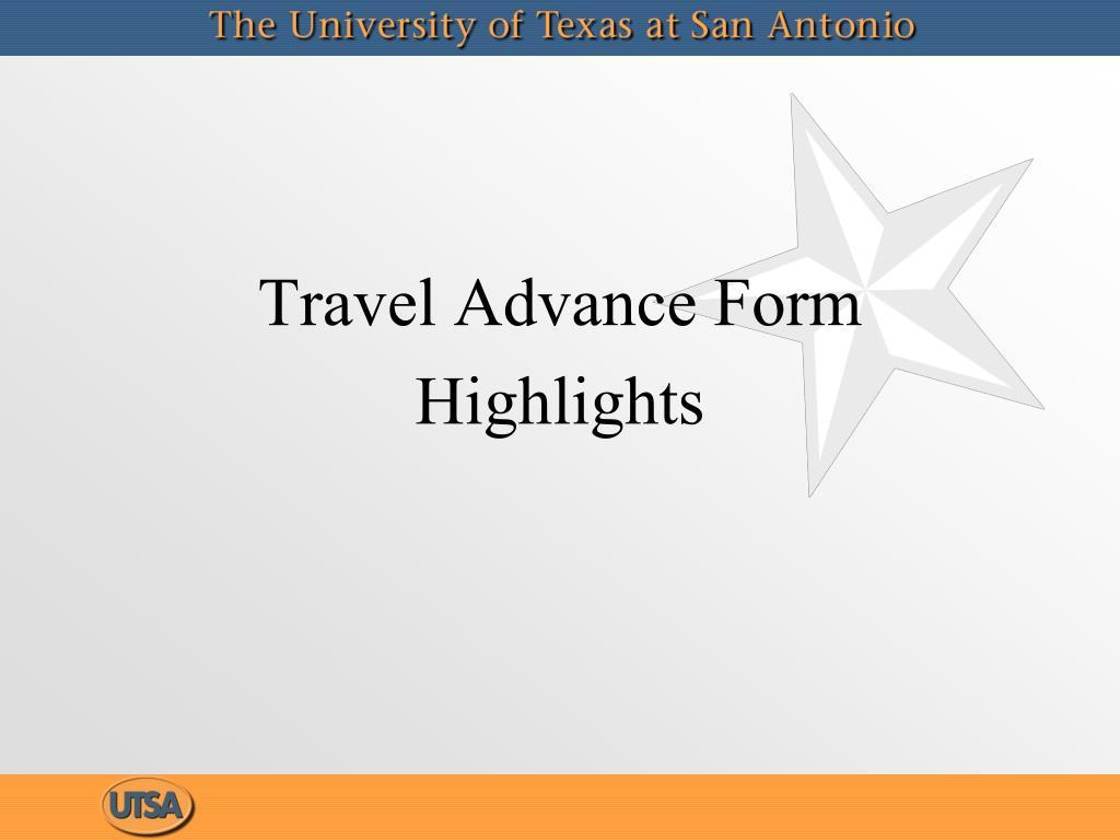 Travel Advance Form