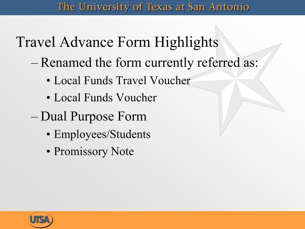 Travel Advance Form Highlights