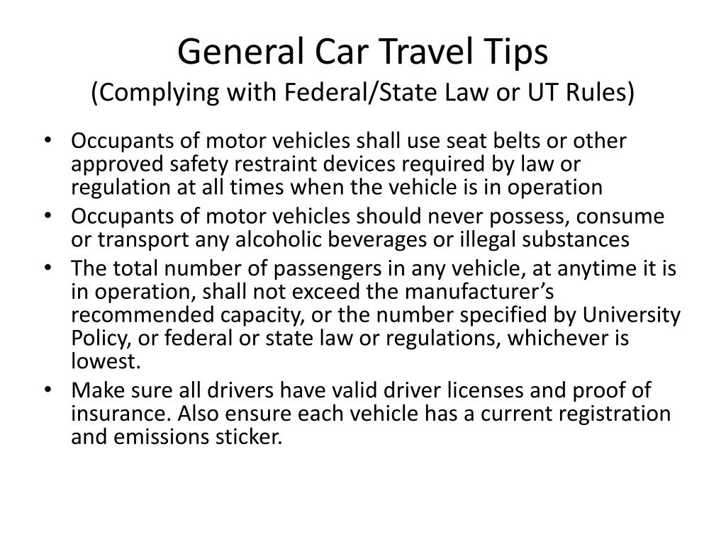 General Car Travel Tips