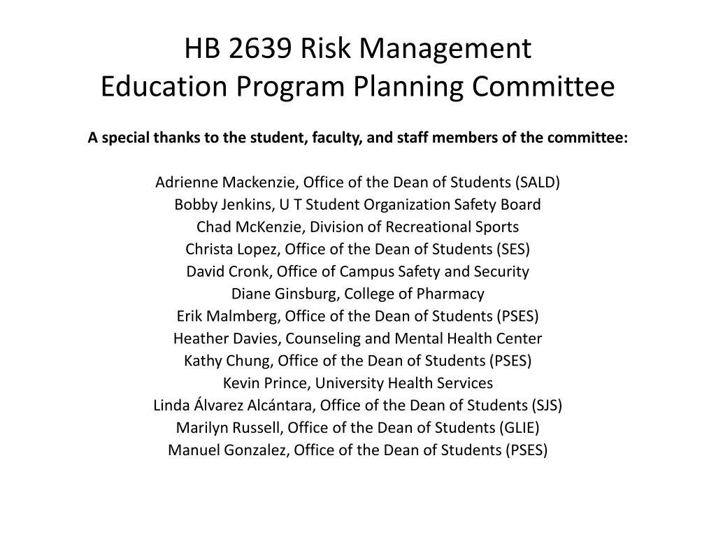 HB 2639 Risk Management