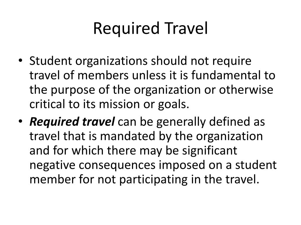 Required Travel
