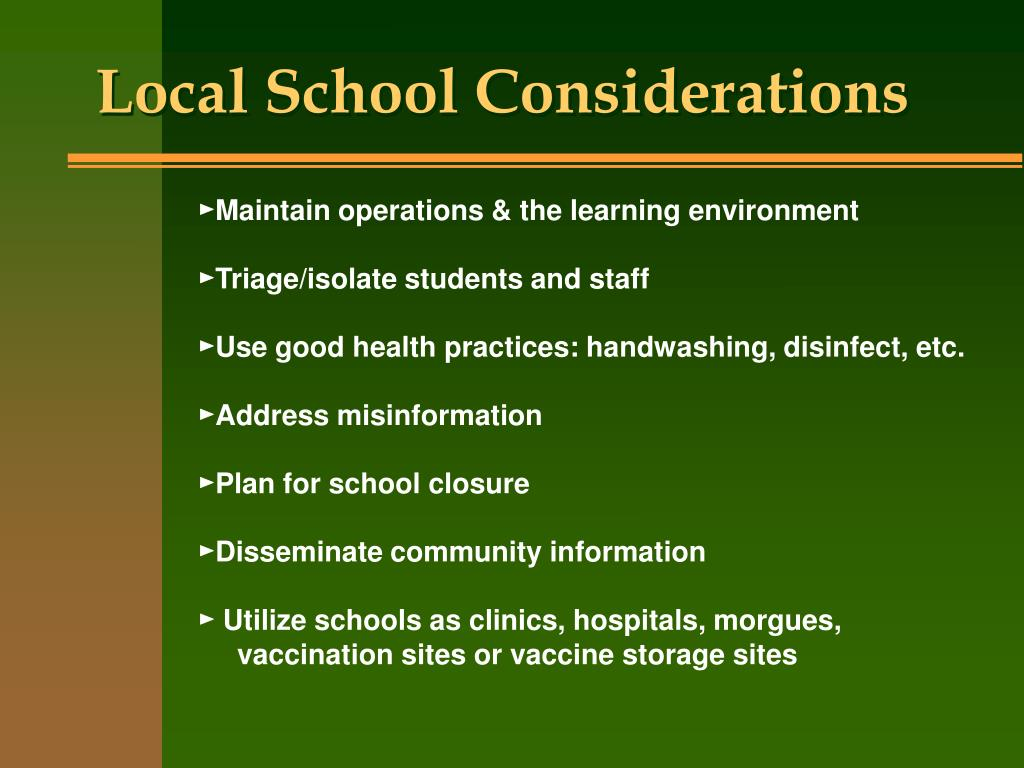 Local School Considerations