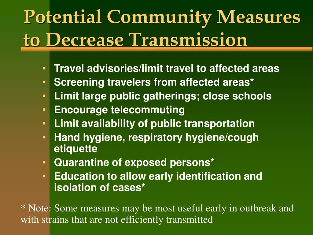 Potential Community Measures to Decrease Transmission