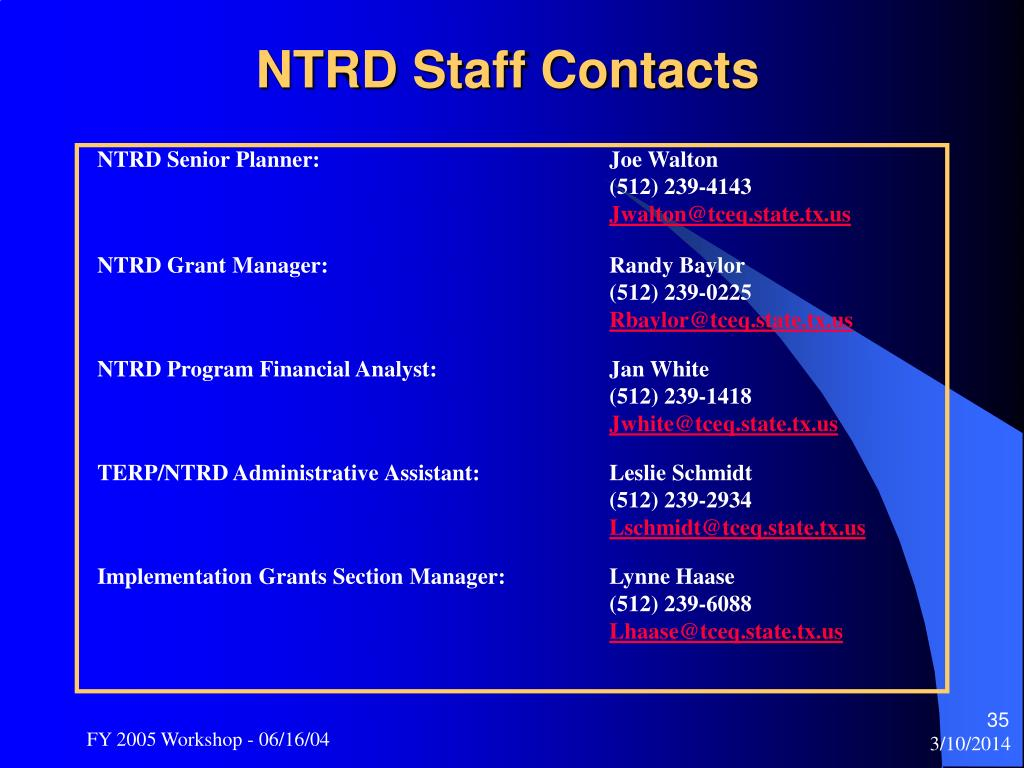 NTRD Staff Contacts