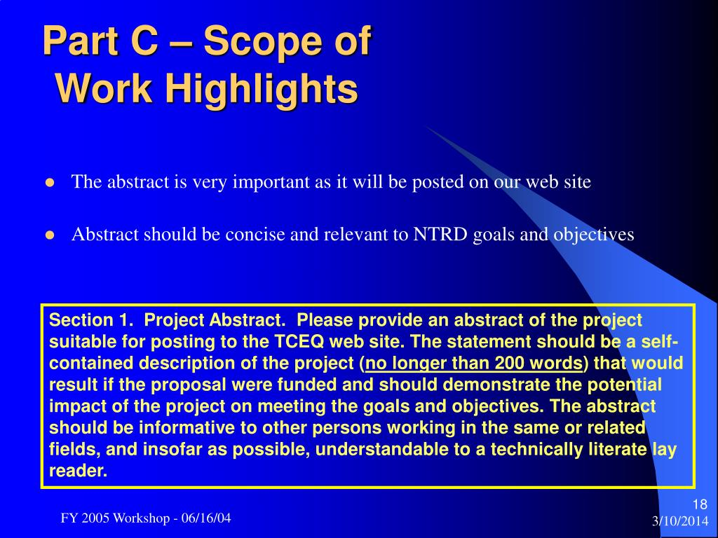 Part C – Scope of Work Highlights