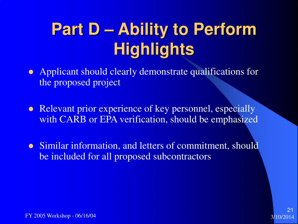 Part D – Ability to Perform Highlights