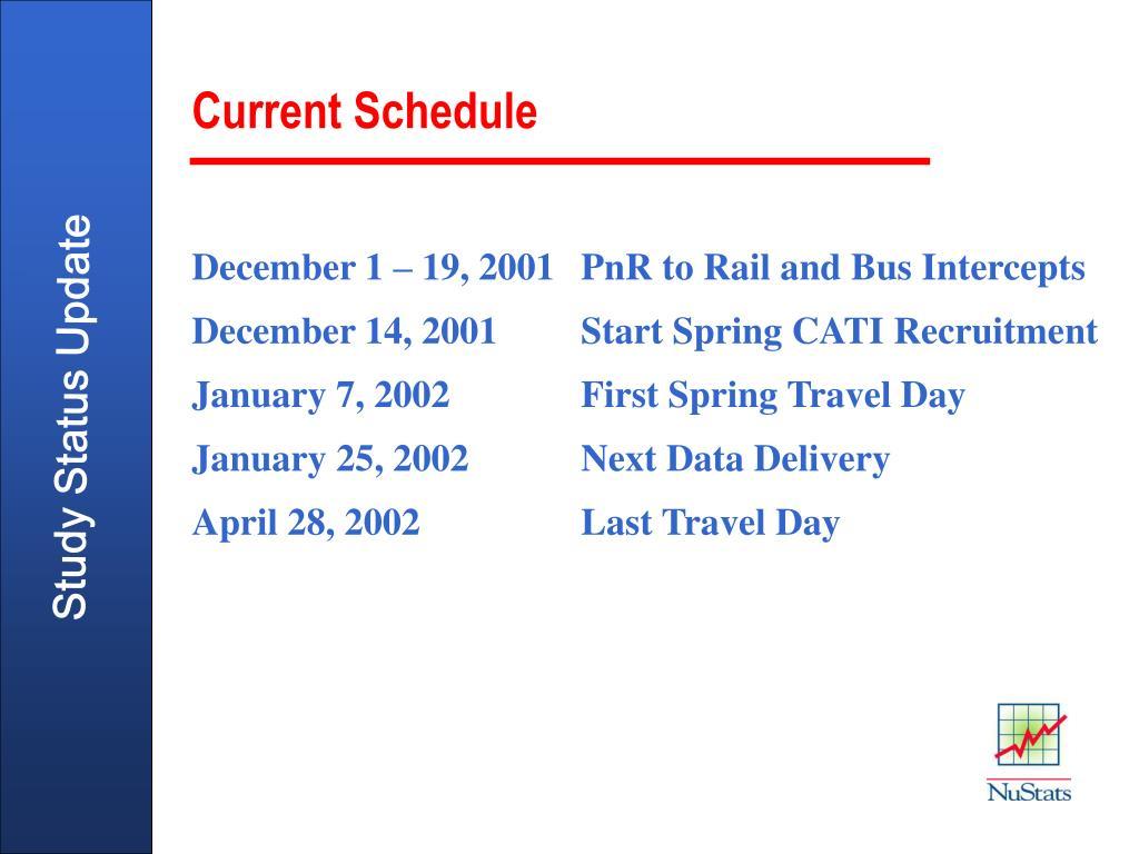 December 1 – 19, 2001