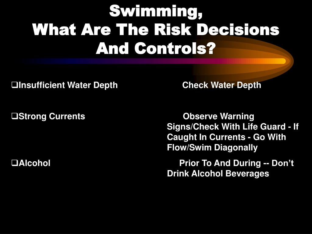 Swimming,                                            What Are The Risk Decisions      And Controls?