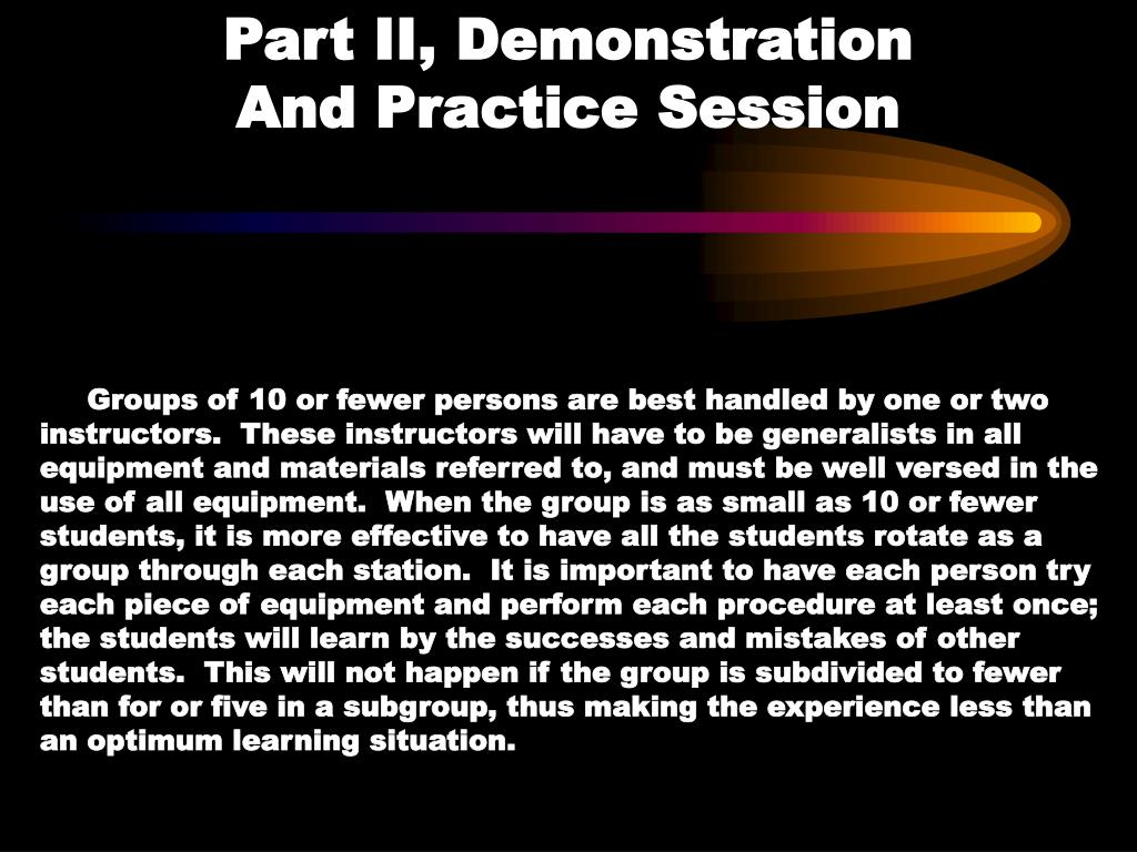 Part II, Demonstration                 And Practice Session