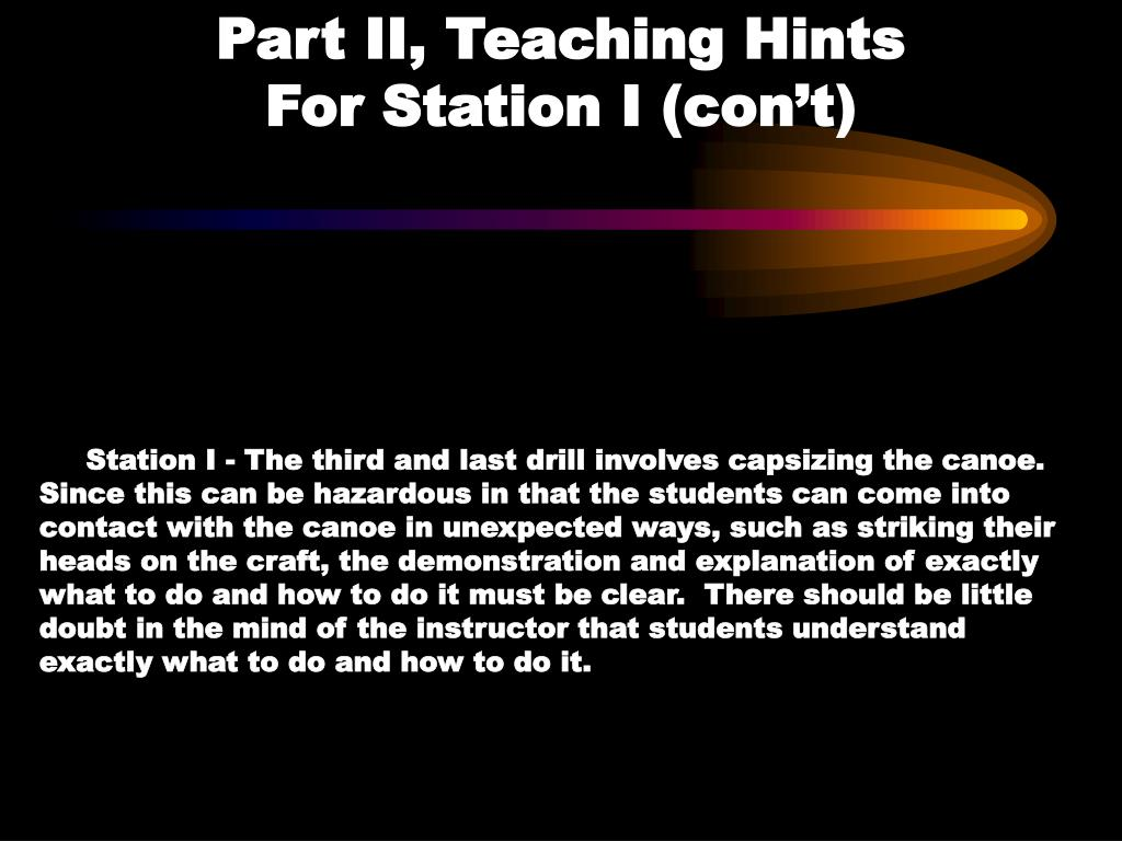 Part II, Teaching Hints                 For Station I (con't)