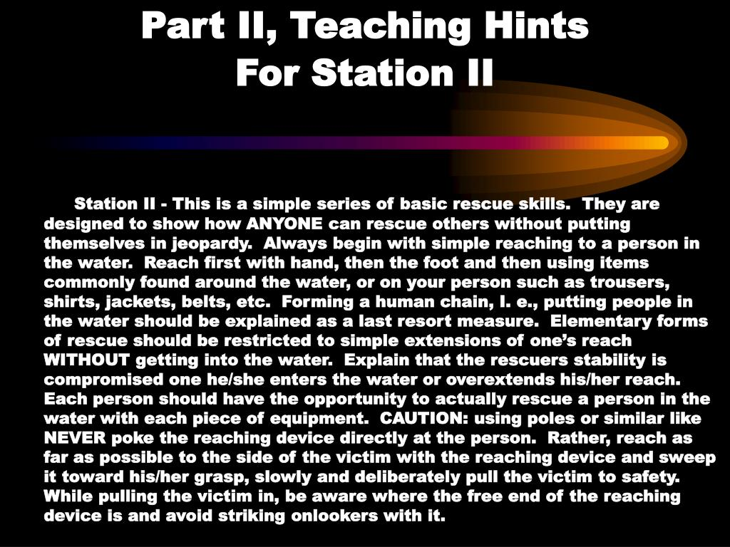 Part II, Teaching Hints                 For Station II
