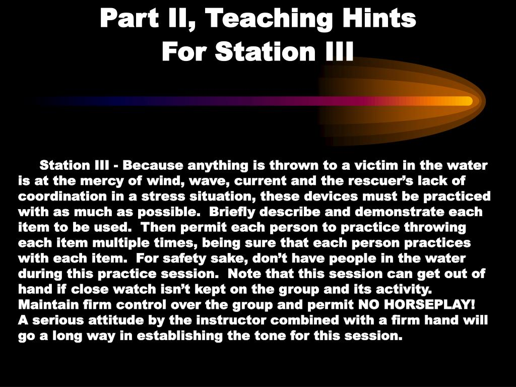 Part II, Teaching Hints                 For Station III