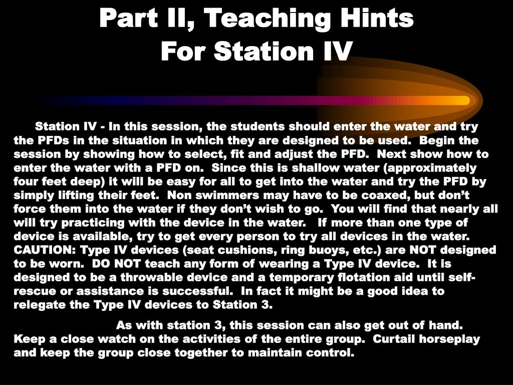 Part II, Teaching Hints                 For Station IV