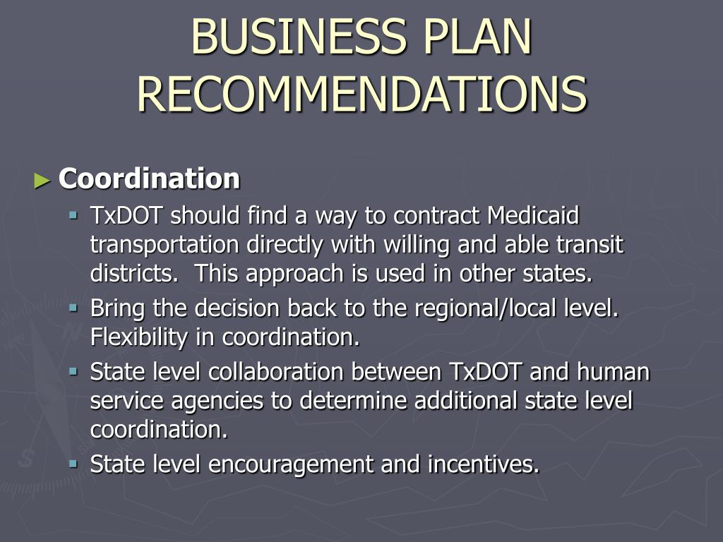 BUSINESS PLAN RECOMMENDATIONS