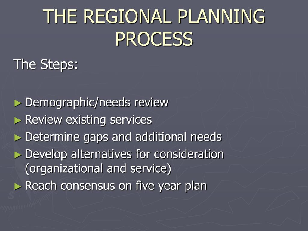 THE REGIONAL PLANNING PROCESS