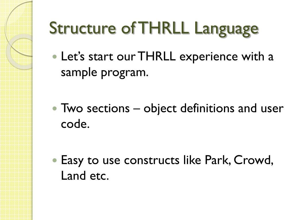 Structure of THRLL Language