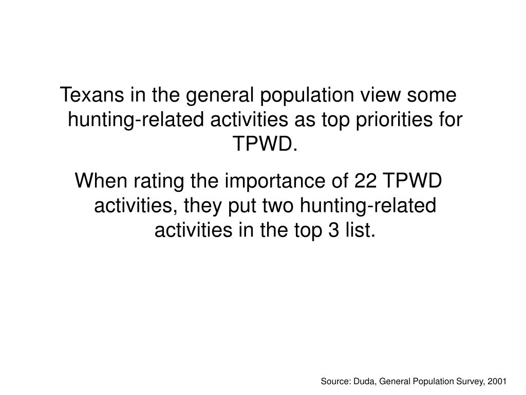 Texans in the general population view some hunting-related activities as top priorities for TPWD.