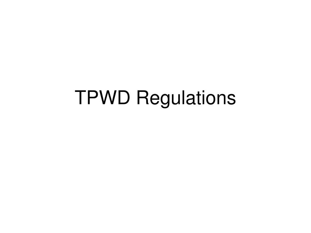 TPWD Regulations