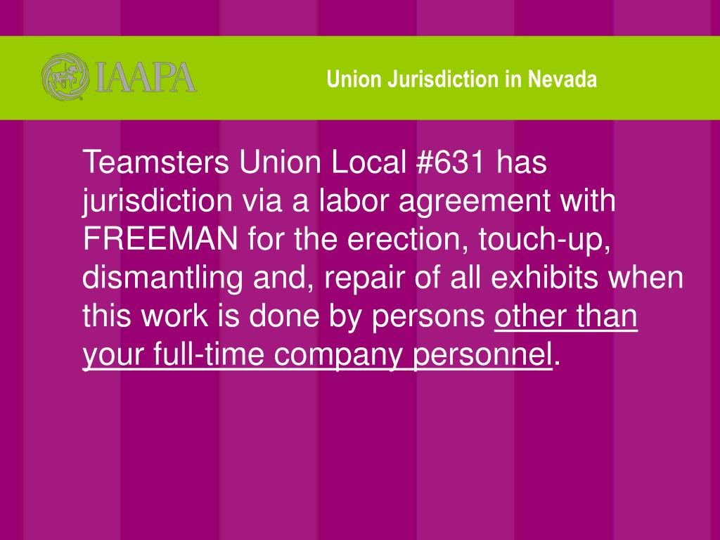 Union Jurisdiction in Nevada
