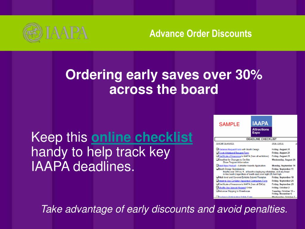 Advance Order Discounts