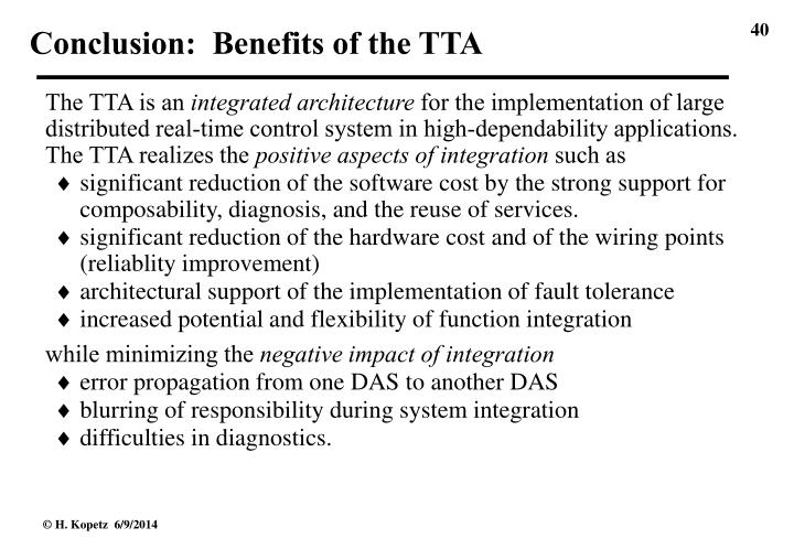 Conclusion:  Benefits of the TTA