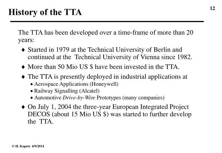 History of the TTA