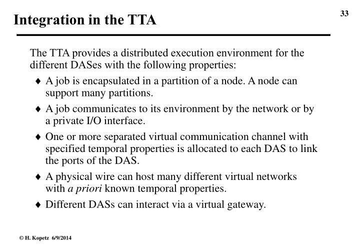Integration in the TTA