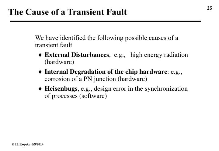 The Cause of a Transient Fault