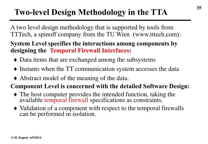 Two-level Design Methodology in the TTA