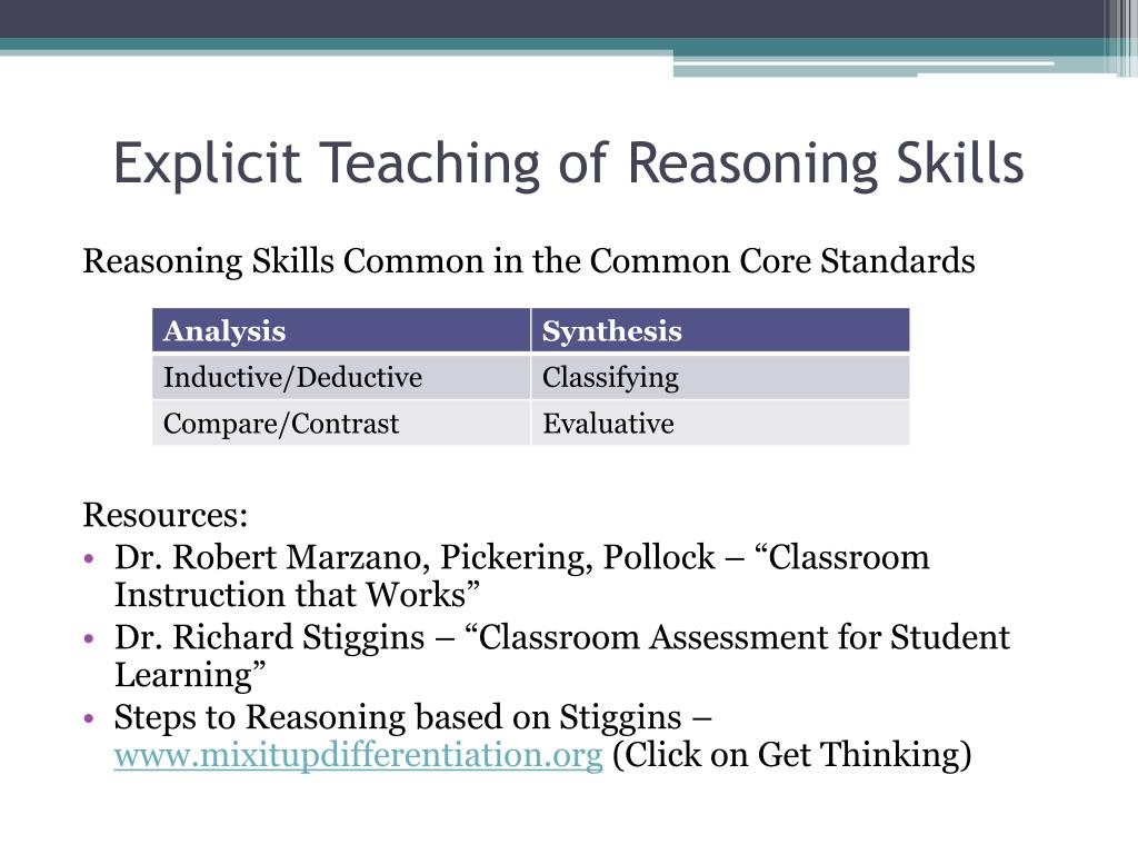 Explicit Teaching of Reasoning Skills