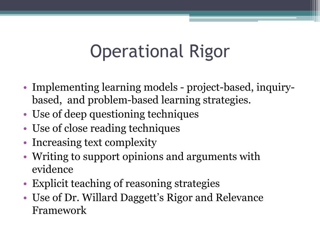 Operational Rigor