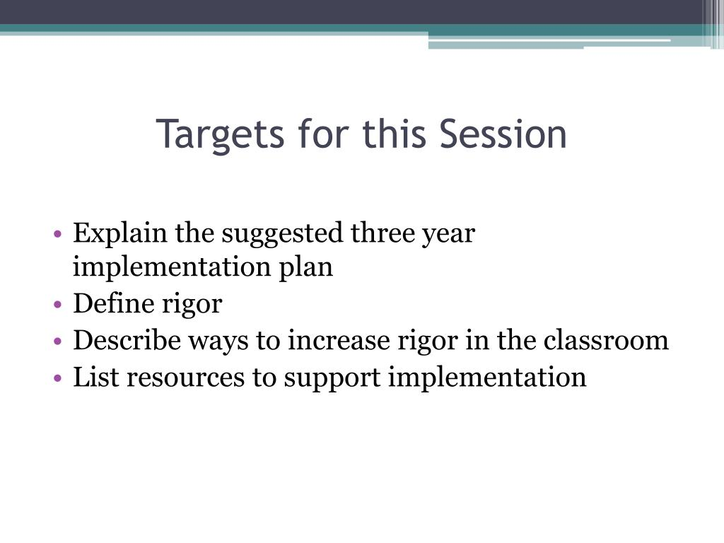 Targets for this Session