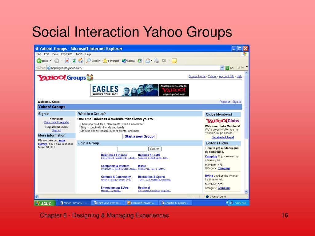 Social Interaction Yahoo Groups