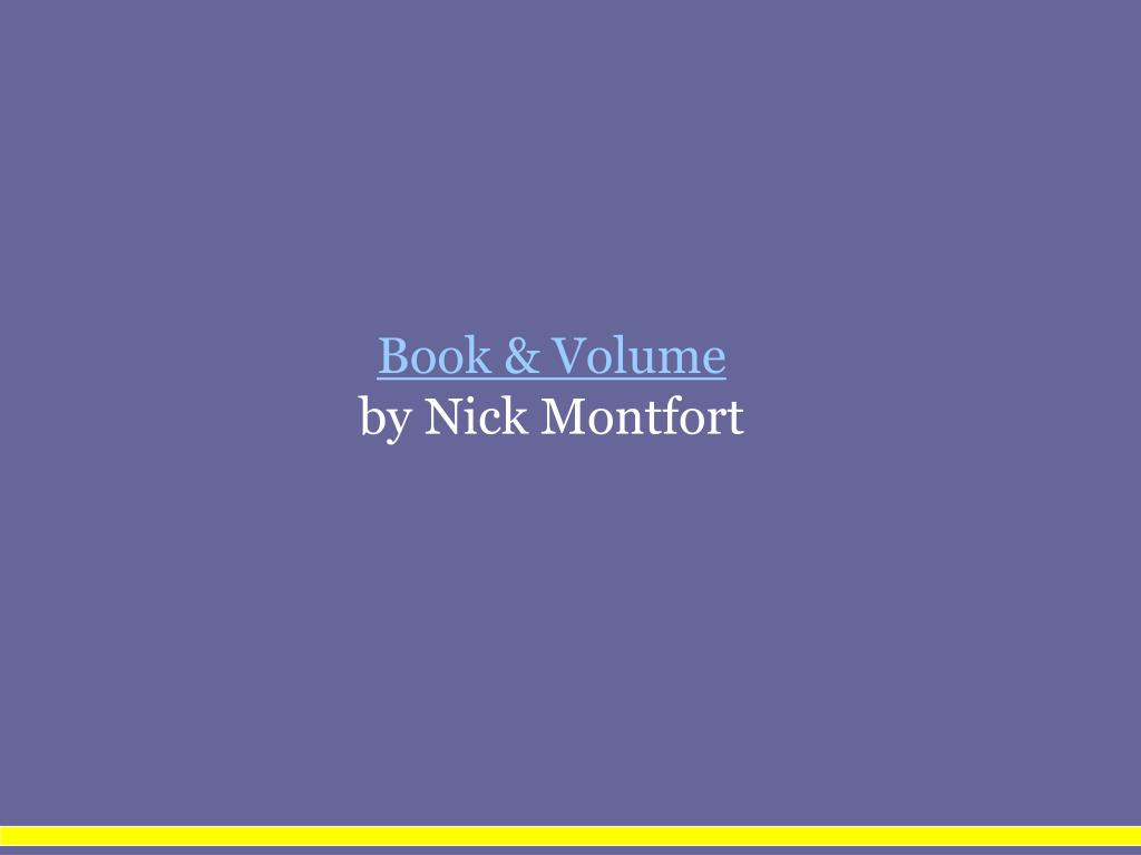 Book & Volume
