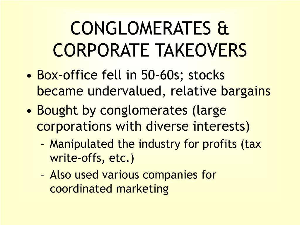 CONGLOMERATES & CORPORATE TAKEOVERS
