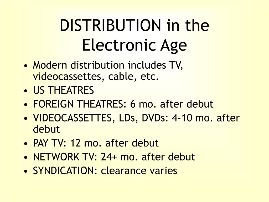 DISTRIBUTION in the Electronic Age