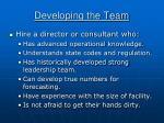 developing the team