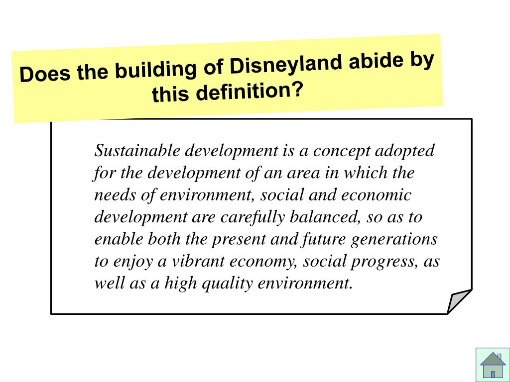 Does the building of Disneyland abide by this definition?