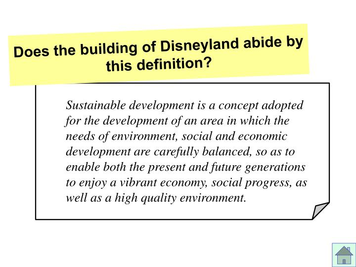 Does the building of disneyland abide by this definition