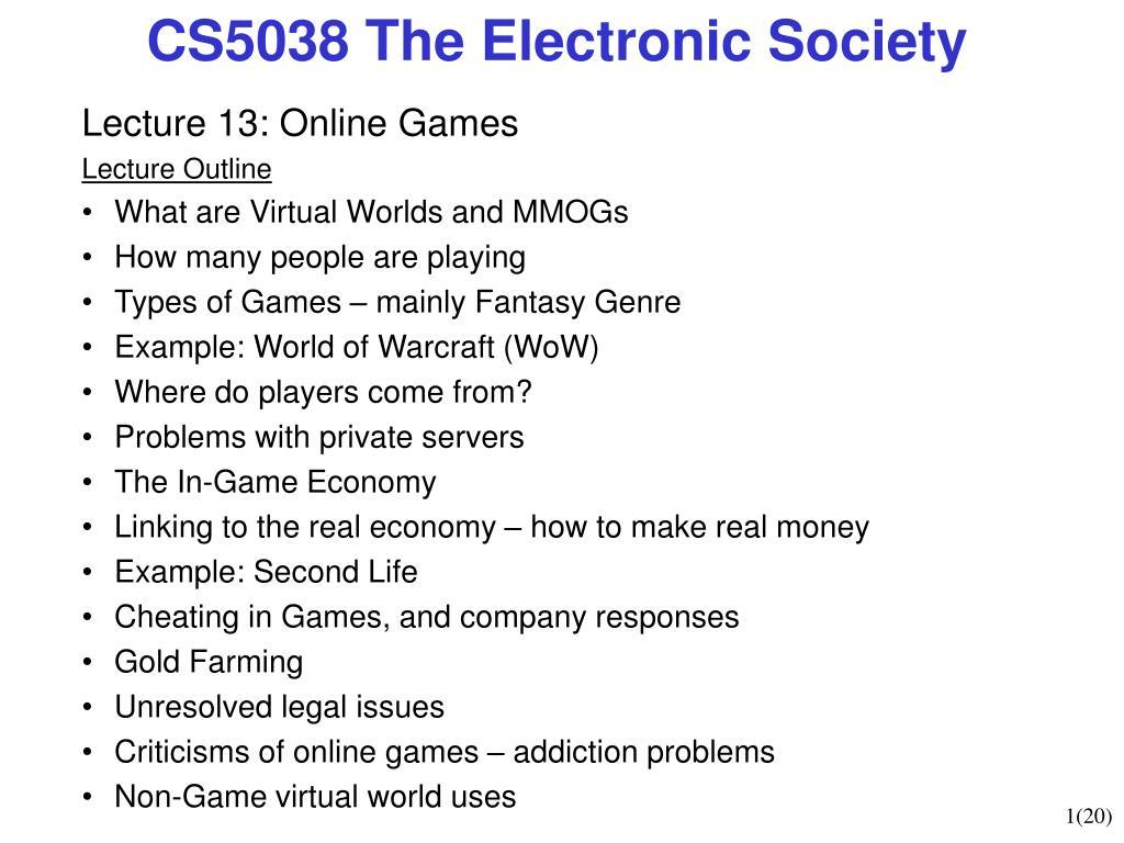 CS5038 The Electronic Society