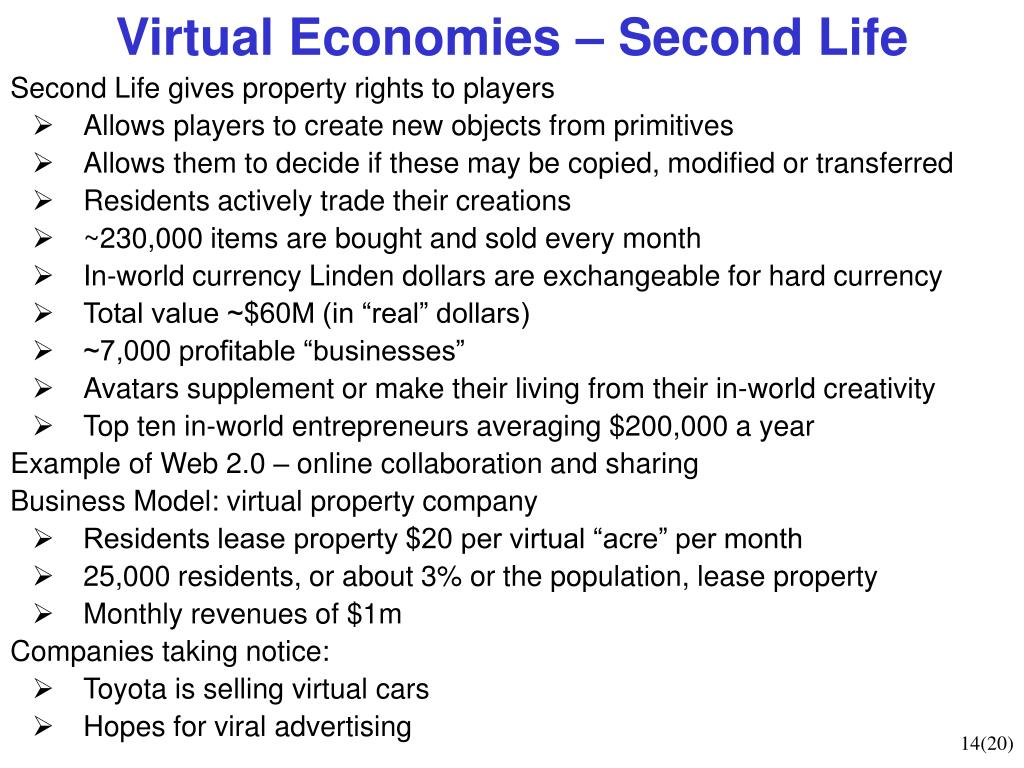 Virtual Economies – Second Life