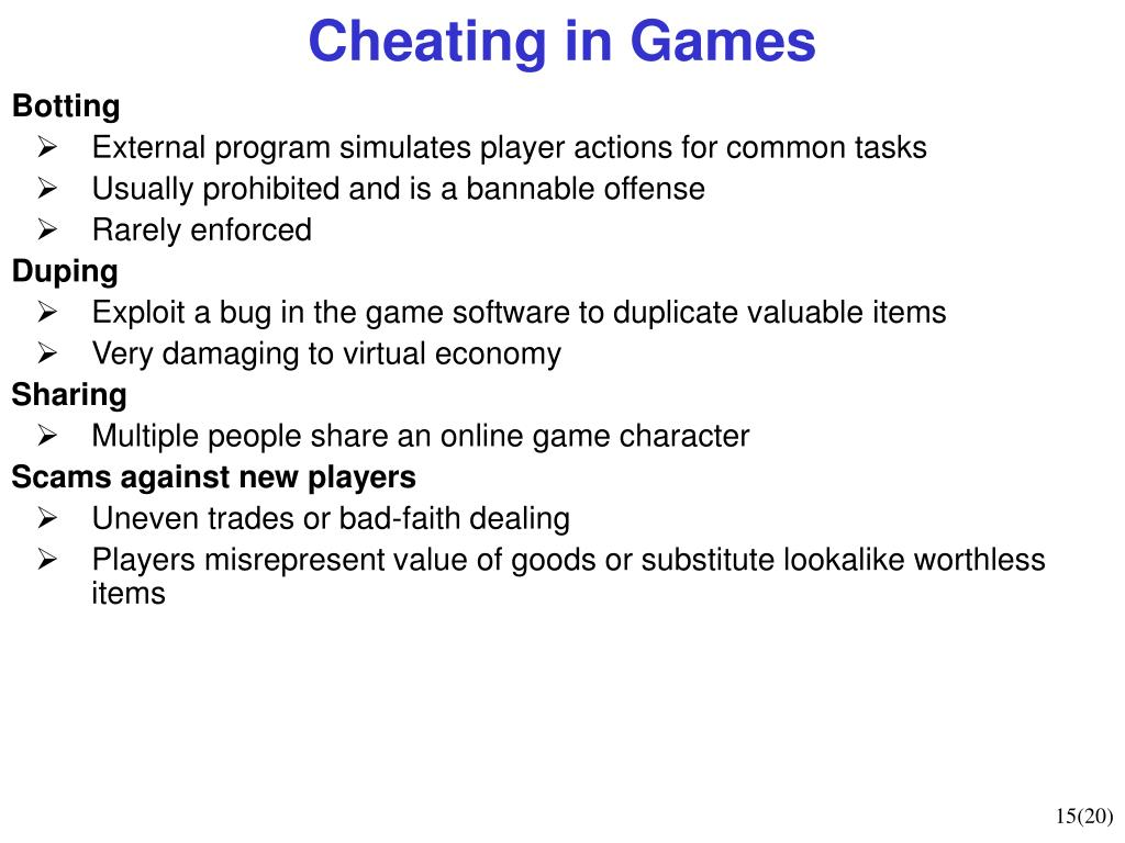 Cheating in Games