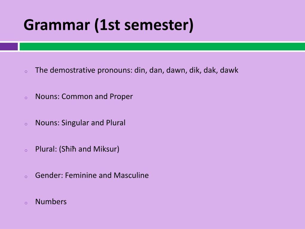 Grammar (1st semester)