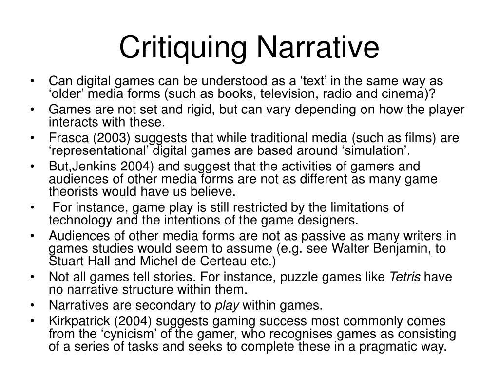 Critiquing Narrative