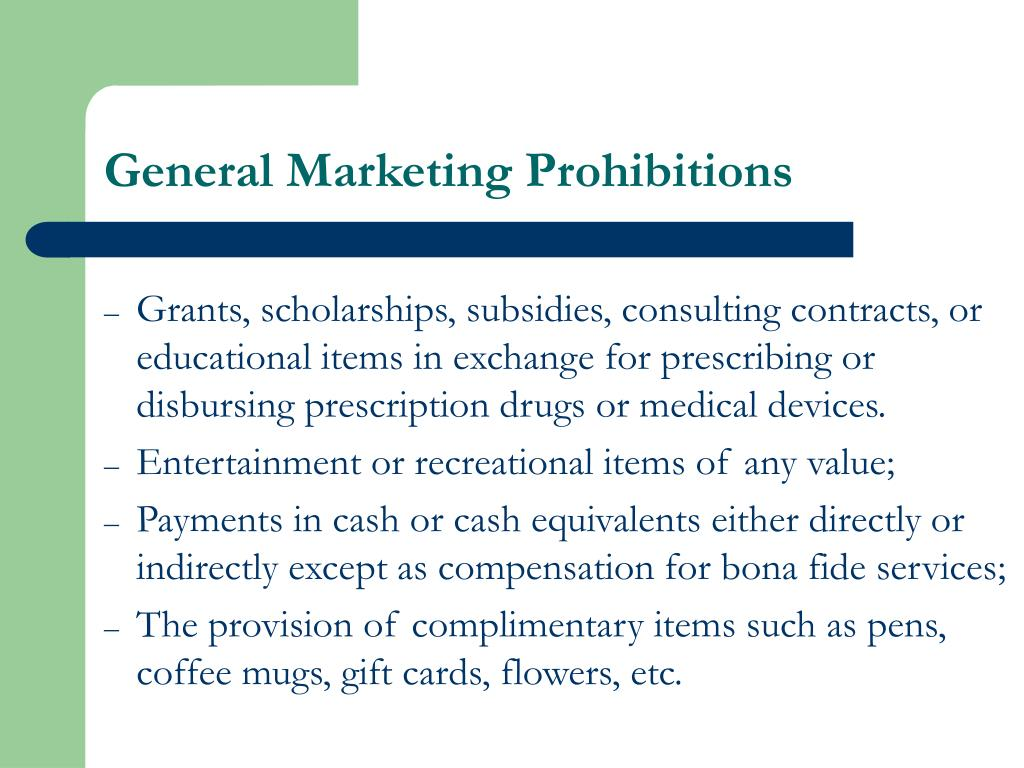 General Marketing Prohibitions