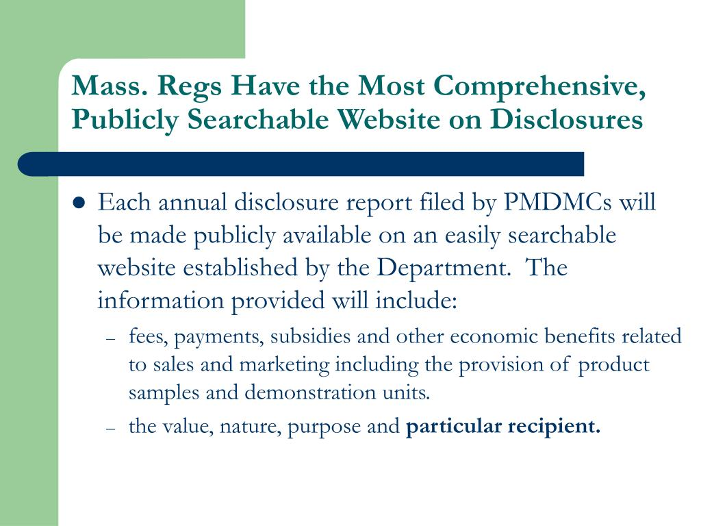 Mass. Regs Have the Most Comprehensive, Publicly Searchable Website on Disclosures