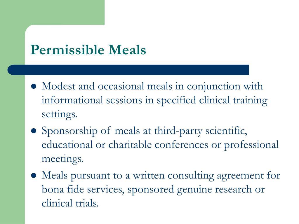 Permissible Meals