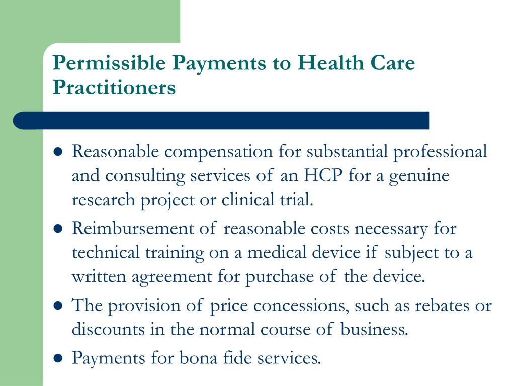 Permissible Payments to Health Care Practitioners