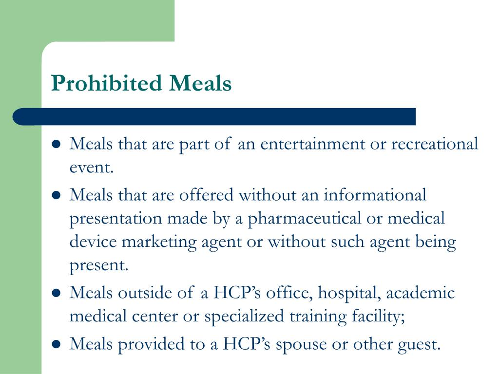 Prohibited Meals