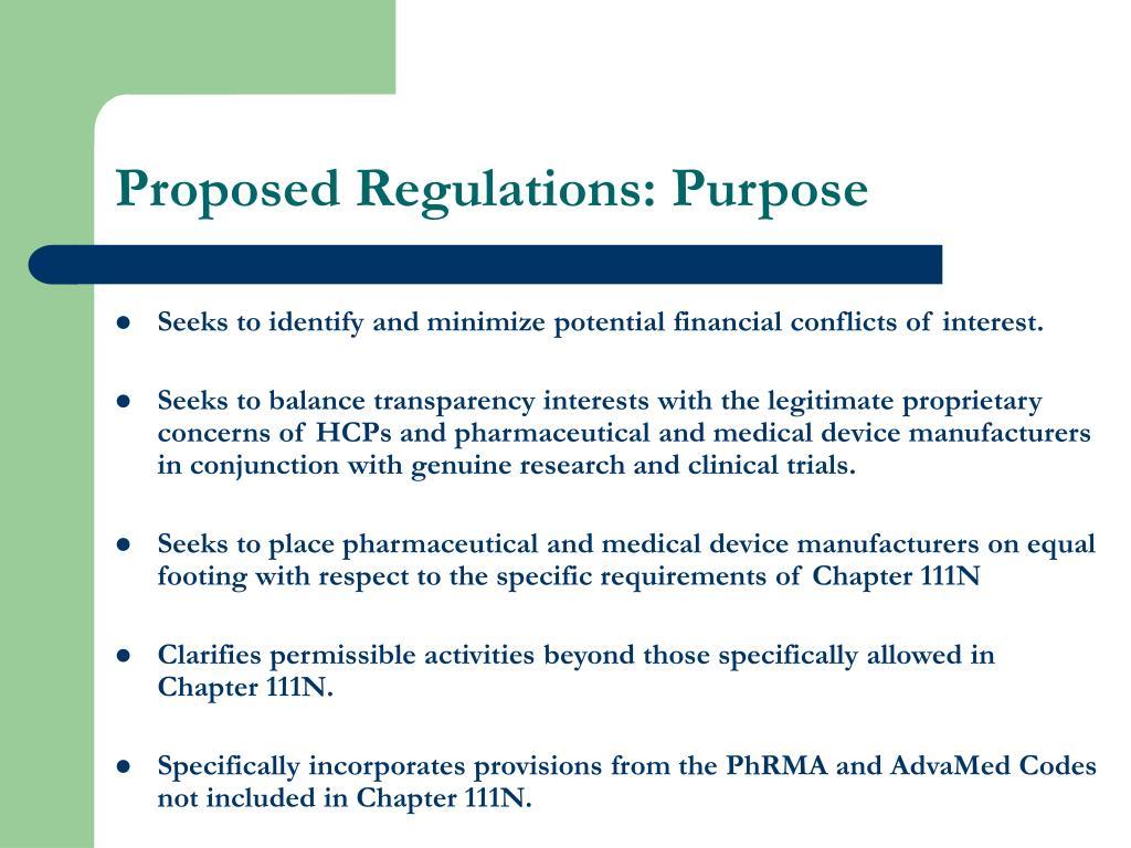 Proposed Regulations: Purpose